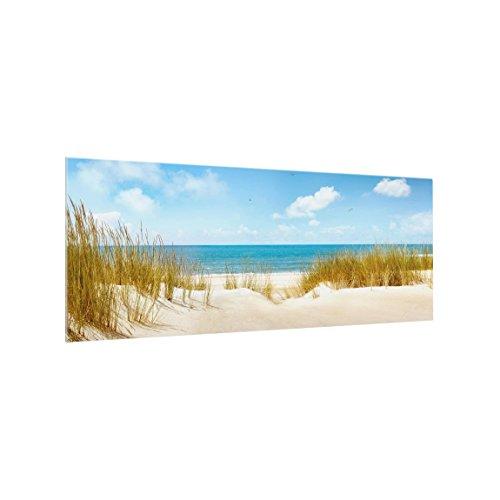 Spritzschutz Glas - Strand an der Nordsee 50 x 125cm Panorama Sicherheitsglas