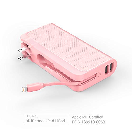 Luxtude Portable Charger for iPhone,10000mAh Power Bank Built-in Lightning Cable & Wall Plug, Apple Certified Portable iPhone Charger, Travel Charger Power Bank for iPhone, iPad, Samsung etc. - Pink