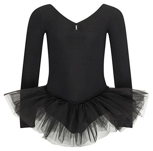 tanzmuster ® Ballettkleid Mädchen Tutu - Romy - aus weichem Baumwollstoff mit Glitzersteinen Ballettanzug mit Tüllrock in schwarz, Größe 152/158