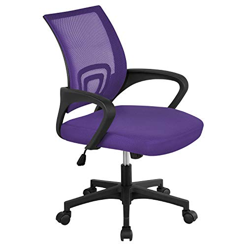 Topeakmart Mesh Desk Chairs with Wheels & Armrest, Adjustable Ergonomic Office Chairs for Back Pain Purple