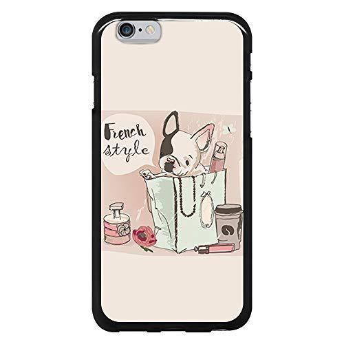 BJJ SHOP Funda Negra para [ iPhone 6 / iPhone 6s ], Carcasa de Silicona Flexible TPU, diseño: Perro Bulldog Frances Blanco Cachorro en Bolso, French Style