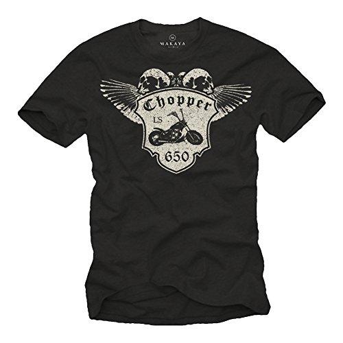 Camiseta de Manga Corta para Hombre - con Moto LS650 - Negra XL