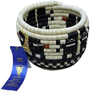 Perry Null Trading Rowena Kagenveama, Hopi Coil Basket, Mudheads, Handmade, 6.5 in x 9 in