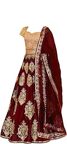New Fashion Adda Girl's Silk Semi stitched Lehenga Choli (FA_K_Maroon_Butto_01_Maroon_Free Size)