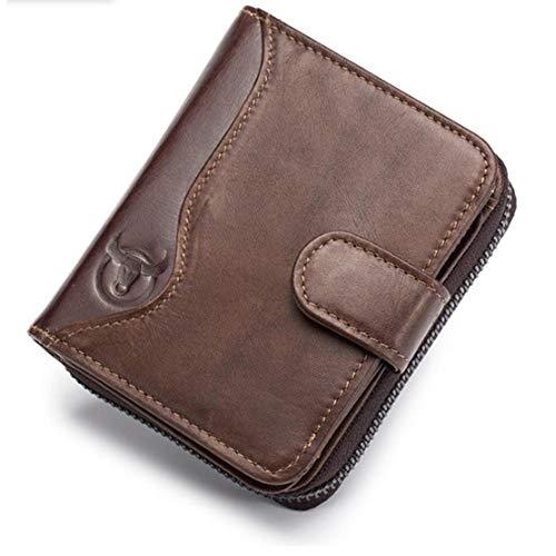 Sacchetto degli Uomini del Portafoglio da Licenza Multi-Card Portafoglio in Pelle Sedile Organo Zipper Driver da Uomo Mens Cuoio Sacchetti Spalla (Color : Black, Size : S)