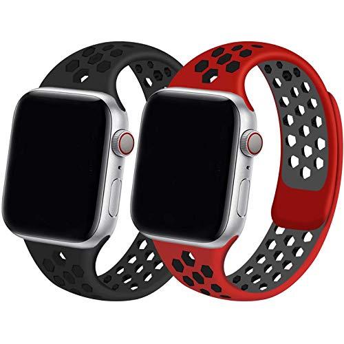 INZAKI - Cinturino di ricambio per Apple Watch, 42 mm, 44 mm, morbido e traspirante, in silicone, per iWatch Series 6/5/4/3/2/1, SE, sportivo, impermeabile, M/L, nero/rosso nero