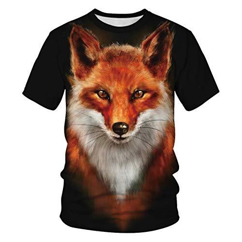 Leezeshaw Herren T-Shirt mit 3D-Tiermotiv, kurzärmelig, für Halloween, Cosplay, S-3XL Gr. XL, fuchs