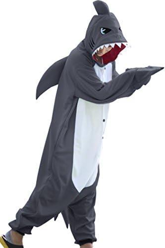 dressfan Animale Tutina di squalo di Costumi squalo Cosplay Costumi Natale Halloween Pigiama per Unisex Adulti Adolescenti Bambini