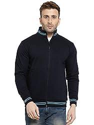 Scott International AWG Mens Premium Rich Cotton High Neck Hoodie Sweatshirt - Navy Blue