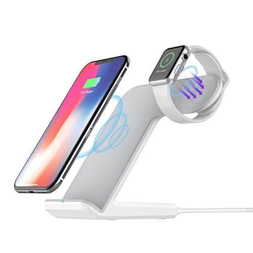 Induktives kabelloses Ladegerät, schnelles kabelloses Ladegerät für Samsung Galaxy Note und All Qi, Ladestation/Dock für iPhone und iWatch 4/3/2/1,White