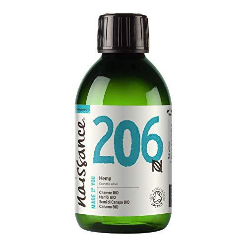 Naissance Aceite Vegetal de Semillas de Cáñamo BIO n. º 206-250ml - 100% puro, prensado en frío, virgen, certificado ecológico, vegano y no OGM