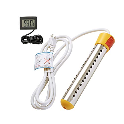 GESAIL 1500W Electric Immersion Heater, Submersible Water Heater With Stainless Steel Guard, Bucket Water Heater Used For Camping Water Heater And Pool Warmer With UL Listed,Rv Water Heater(Yellow)