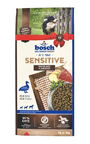 bosch Tiernahrung bosch HPC Sensitive Ente & Kartoffel, Hundetrockenfutter für ernährungssensible Hunde aller Rassen, 15 kg