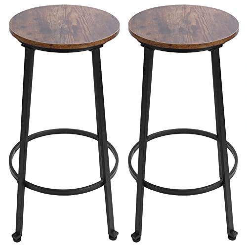 Wakects Juego de 2 taburetes de bar de estilo industrial vintage con reposapiés y estructura de acero estable, 74,5 x 37 cm