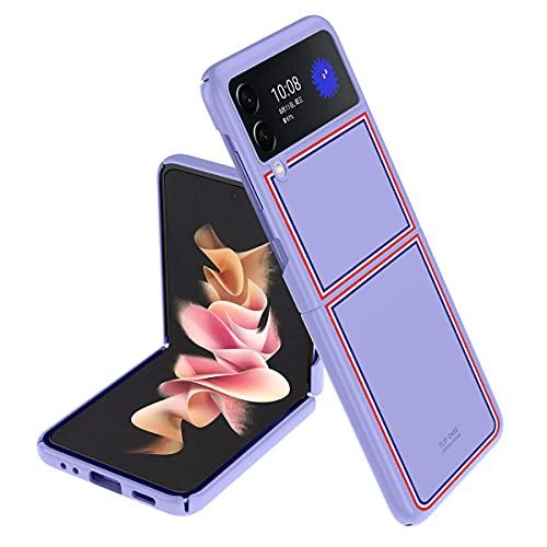 XJZ Compatibile con Samsung Galaxy Z Flip 3-5G Cover(2021)+9D Pellicola Protettiva in Vetro Temperato/Shell Ultra Sottile Antiurto Protettiva Mat PC Plastica Custodie per Galaxy Z Flip 3-Purple