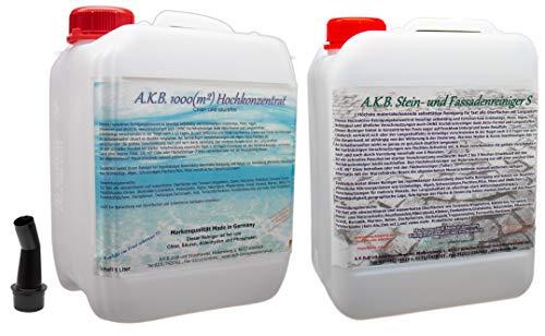 A.K.B. Steinreiniger S 1000/Set 5 Liter + 5 Liter 1040,stark säurehaltig(Gilt nur für Steins) Grünbelagentferner Flechtenentferner
