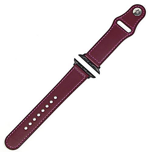 SGGFA Correa de cuero genuino para Apple Watch Band 42 mm 44 mm Watch 4 5 38 mm 40 mm Iwatch 3/2/1 Correa de repuesto (color de la correa: morado negro, ancho de la correa: 40 mm)