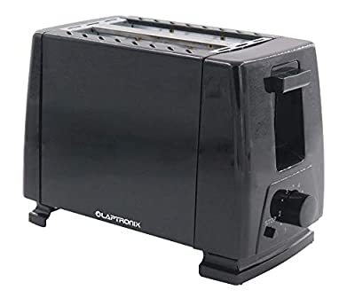 Laptronix 2- Slice Electric Toaster in Stainless Steel 650w Side Crumb Tray