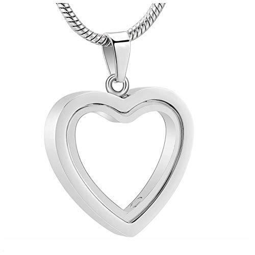 Wxcvz Collar para Cenizas Medallón De Corazón De Cristal Conmemorativo De Acero Inoxidable para Cenizas O Recuerdos De Cabello Joyería De Cremación Collar De Cenizas Conmemorativas para Mascotas