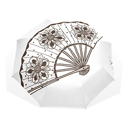 Paraguas de refrigeración Ventilador de Viaje Varios Estilos Coloridos Paraguas de Arte de 3 Pliegues (impresión Exterior Paraguas de Senderismo Sun Paraguas Lindo Paraguas Compacto Compacto a prueb