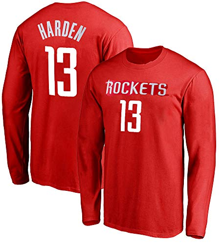 Outerstuff NBA Youth Game Time Team Color Player Name and Number Long Sleeve Jersey T-Shirt (Small 8, James Harden Houston Rockets)