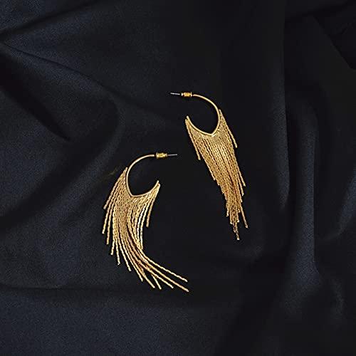 Goldene MaiSuiSuspension Lange Ohrringe Weibliche RetroTempeleuropäische und amerikanische goldene Arten von kalten Rädern roten Rundfrontfront