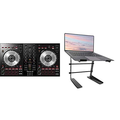 Pioneer DJ DJ Controller, Black, (DDJSB3) & Pyle Portable Adjustable Laptop Stand - 6.3 to 10.9 Inch Anti-Slip Standing Table Monitor or Computer Desk Workstation Riser with Level Height Alignment