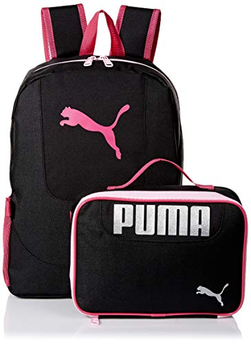 PUMA Girls' Big Lunch Box Backpack Combo, black/Pink, Youth Size