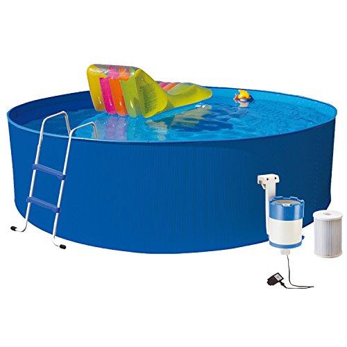 Hecht Stahl-Pool Bluesea Rund-Becken Stahl-Wand Swimmingpool (350x90 cm) Set (inkl. 12 V Einhängefilter (All-in-One / 1700 l/h) und passender Leiter)
