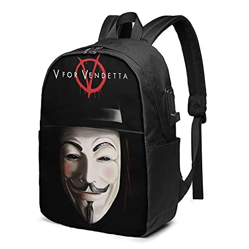 V For Vendetta Mochila unisex de negocios de 17 pulgadas con puerto de carga USB, mochila casual de senderismo