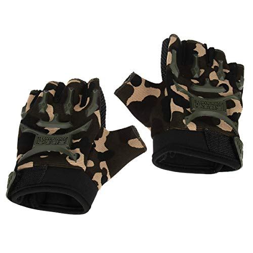 LIOOBO 1 Paar Fahrradhandschuhe Kids Sports Half Finger Bergsteigen Handschuhe für Kinder Outdoor Army Green