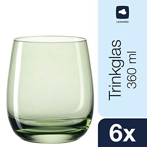 Leonardo 018196 Sora Set 6 Becher klein Verde, Glas, Gruen, 8.40 x 8.40 x 9.70 cm, 6 Einheiten