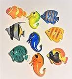 Juego de 9 accesorios de columna de agua compuesto por 6 peces y 3 caballitos de mar #14.