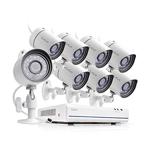 Funlux Überwachungskamerasystem für den Außenbereich, 8 Kanäle, 1080p, HDMI, NVR, vereinfacht, PoE 8 720p HD