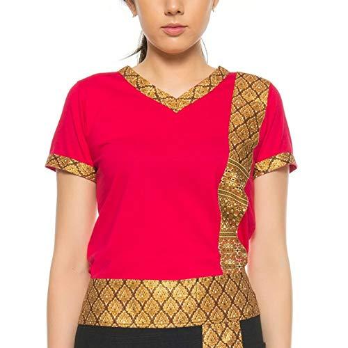 MyThaiMassage Thai-Massage T-Shirt mit traditionellen Thai-Muster (Größe L - Farbe: Rot)