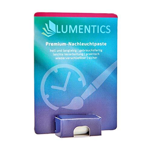 lumentics Premium Leuchtpaste - Im Dunkeln phosphoreszierende Uhrenfarbe. Leuchtende Zeigerfarbe. Selbstleuchtende UV-Bastelfarbe, Glow (Natur/Blau-Grün)