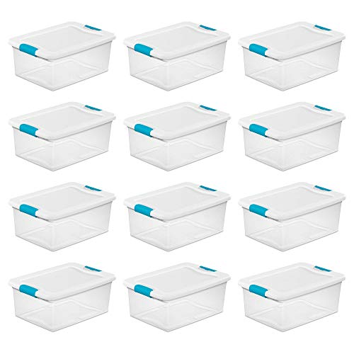 Sterilite 15 Quart Clear Plastic Stackable Storage Tote Container with Lid (12 Pack)