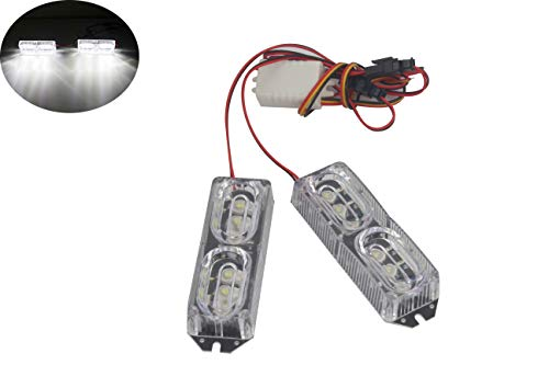 Lampe stroboscopique haute puissance 12 LED DRL pour moto 12 V 12 W (Blanc)