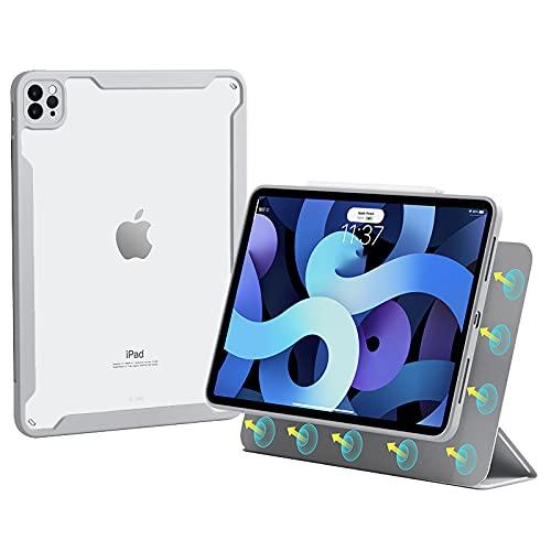 Funda para Ipad Pro 12.9 2021 - [Carcasa trasera de acrílico transparente + Carcasa magnética desmontable + Carga de lápiz de Apple de segunda generación], Funda para iPad Pro 12.9 2020/2018,Gris