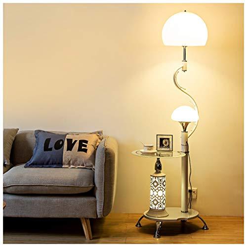 QTDH Nordic dimbare vloerlamp met glazen planken, decoratie van metalen LED-theelichtjes voor kantoor hoek slaapkamer
