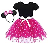 MetCuento Toddler Girl Minnie Dress Up Costume Princess Birthday Party Polka Dots Cosplay Outfits 2-3 Years Pink