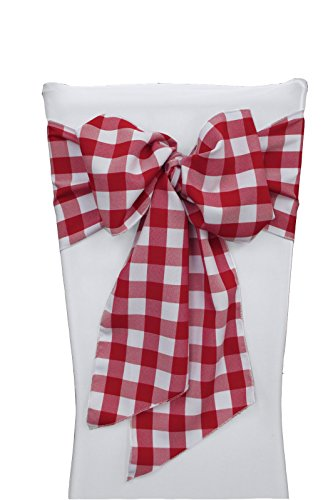 LA Linen Checkered Chair Bows Sashes, 7 by 108-Inch, Red/White, 10-Pack