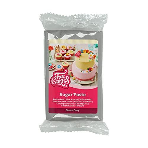 FunCakes Pasta di Zucchero Stone Grey: facile da usare, liscia, flessibile, morbida e pieghevole, perfetta per decorare torte, halal, kosher e senza glutine. 250 gr