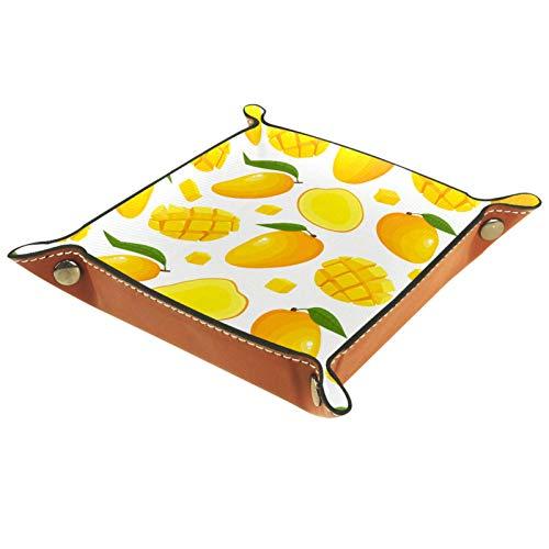 MUMIMI Badezimmer Küche Kommode Schminktisch Tablett Schmuck Geschirr Ring Halter Kosmetik Organizer Sommer Tropische Früchte Mango Süß Gelb