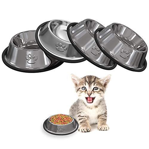 Auidy_6TXD 4 Stück Edelstahl Hundenapf, rutschfeste Katzennapf Hundenäpfe für Katze Hamster Kleine Welpe Hunde Tiere
