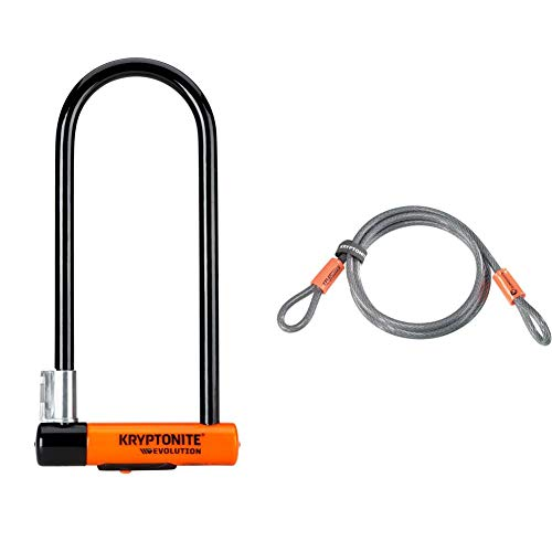 Kryptonite Evolution Lock with Flex Frame U-Bracket - Orange, Long Shackle & Loop Cable Krypto Flex 213cmx10mm, Grey