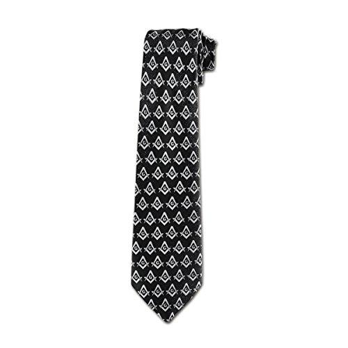 Square & Compass Masonic Neck Tie - [Black & Silver]