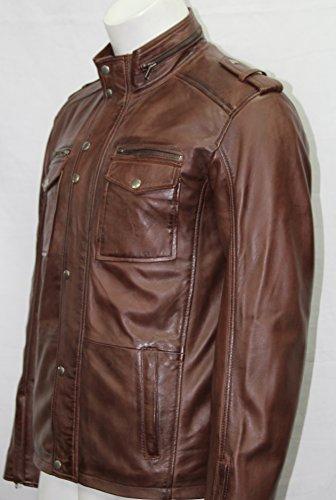 Homme brun rustique safari 2 vestes en cuir véritable doux toutes les tailles (UK XXL/EU 56)