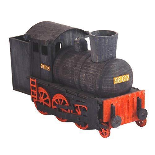 Dampfende Räucherlokomotive in schwarz aus Holz Original Erzgebirge