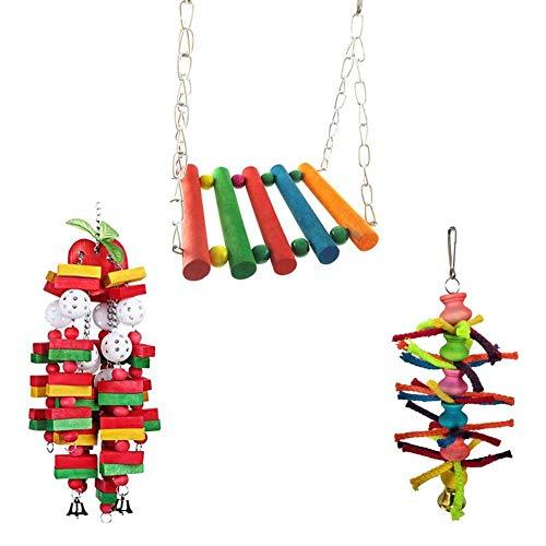 Parrot Swing Bird Toy in legno Parrot Toy Set 3 pezzi